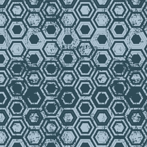 Worn hexagons | blue