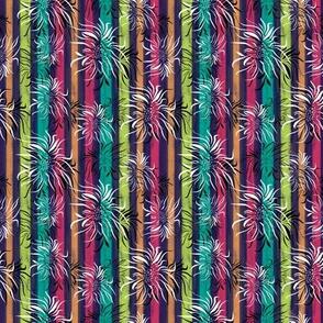 Floral On Pastel Stripes
