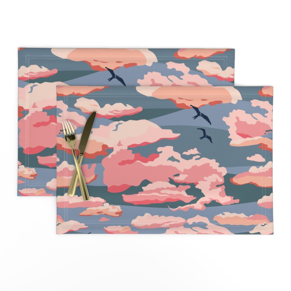 Lamona Cloth Placemats featuring Sunset on a Cloudy Evening - Large by wildnotions
