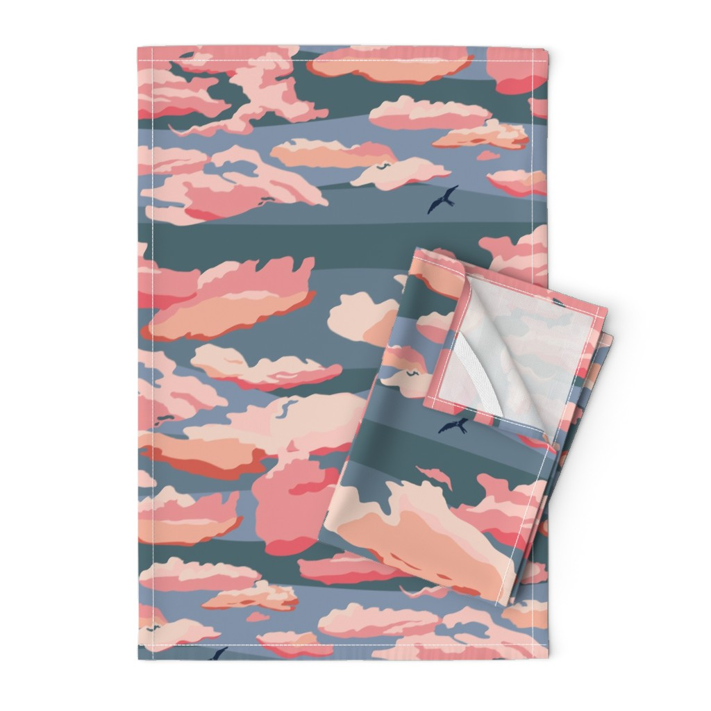 Orpington Tea Towels featuring Sunset on a Cloudy Evening - Large by wildnotions