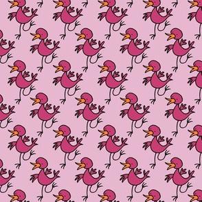 Happy dancing bird -pink