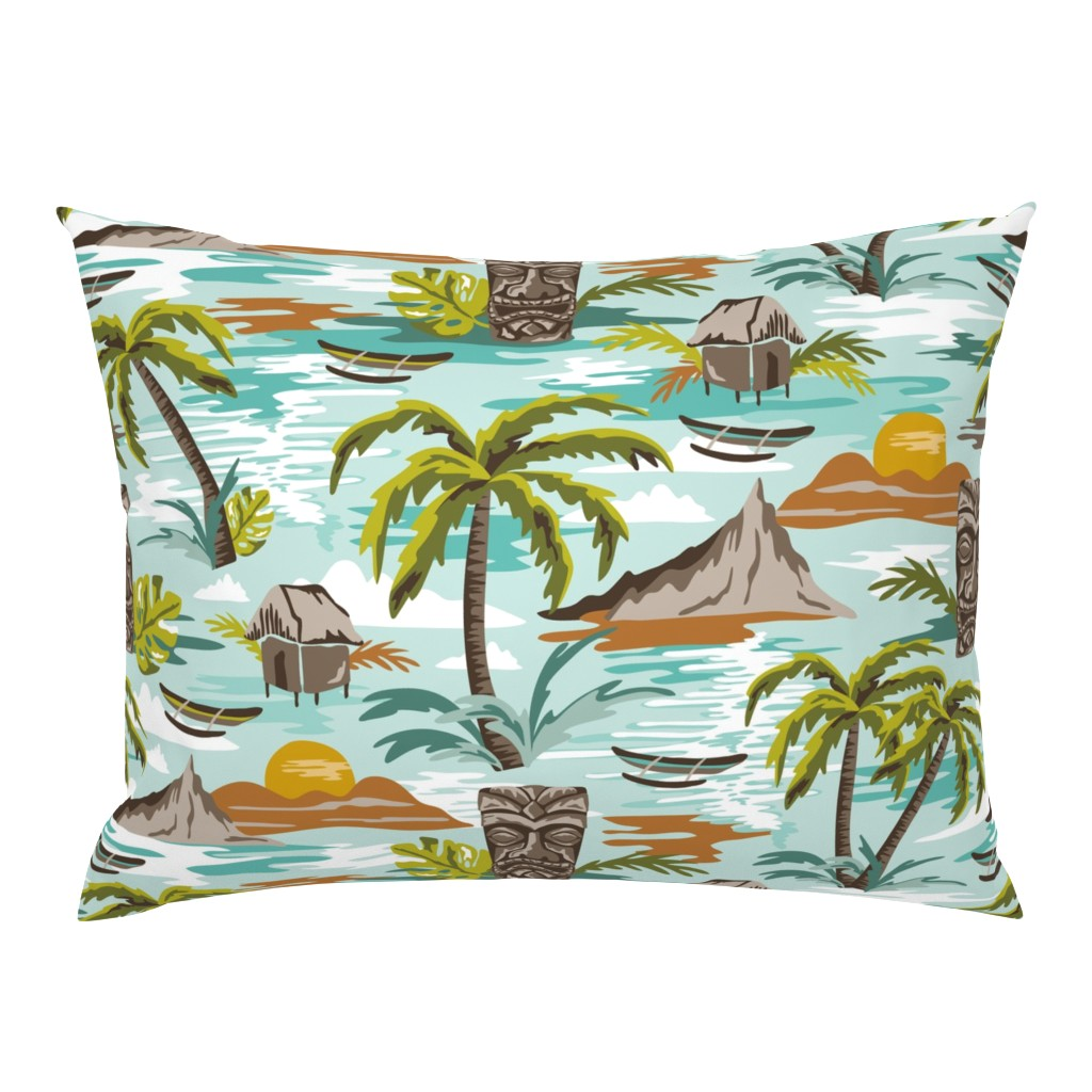 Campine Pillow Sham featuring Lost Paradise - Jumbo Scale Aqua by heatherdutton