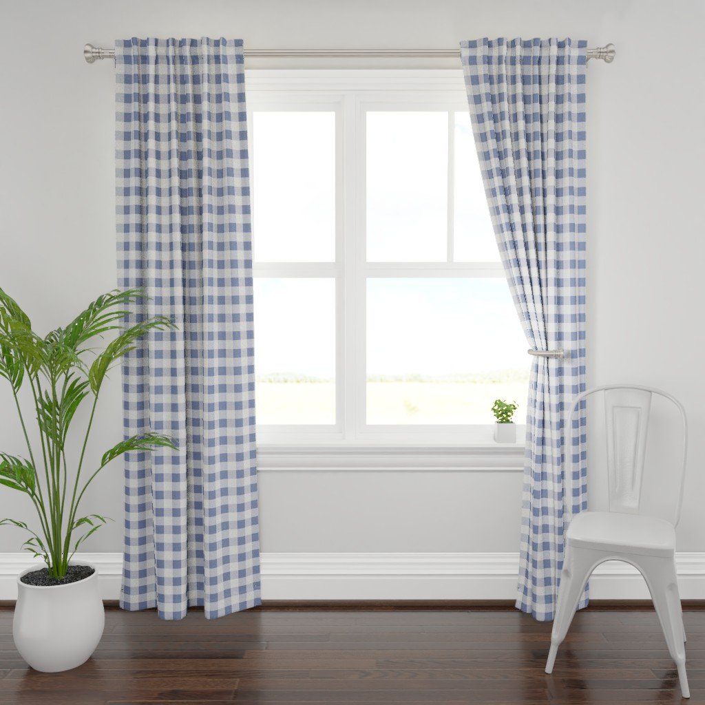 Plymouth Curtain Panel featuring Blue Nautical Buffalo Check Plaid Watercolor Style by jmt_designs