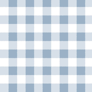 Blue White Check Plaid Watercolor Style