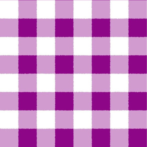 Raspberry White Check Plaid Watercolor Style