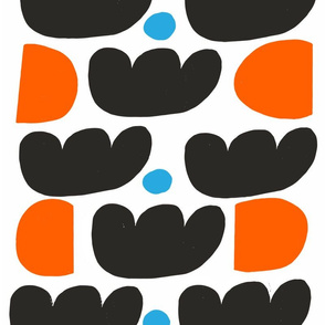 Black Tulips Half Orange Circles Blue Dots