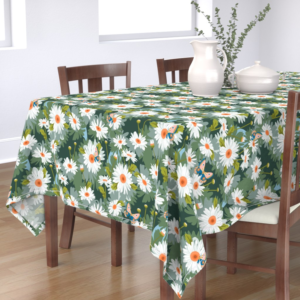 Bantam Rectangular Tablecloth featuring Daisy Love* || paint by number daisy daisies flowers floral butterfly moth midcentury garden painting summer by pennycandy
