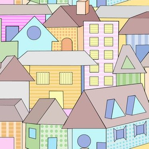 Buildings and Houses Pastel Color