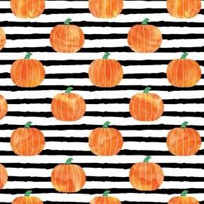 "(1"" scale) watercolor pumpkins on black stripes V2 C19BS"