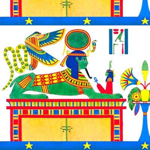 ancient egypt egyptian Sphinx half lion goddesses Maat  hieroglyphics Ankh God Ra sun Serpent Cobra Snakes flowers floral Papyrus Lily Lotus human head androsphinx falcon tribal yellow red blue green