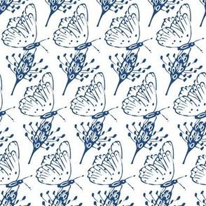 hand printed butterflies diagonal