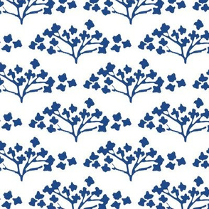 hand printed flowers in classic blue