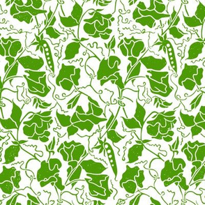 green sweet pea linoprint