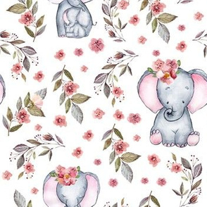 "7"" Cute baby elephants and flowers, elephant fabric, elephant nursery"