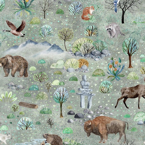 Yukon Backwoods - beaver, moose, bear, racoon, chipmunk, blue jay, bison, buffalo