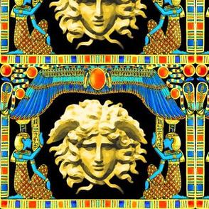 ancient egypt egyptian gold cobra snakes serpent wings scarab beetles hieroglyphs sun medusa greek Greece mashup crossover fusion versace inspired