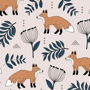 Cute brave little fox forest wild animals a flowers and leaves fall winter forest beige navy