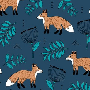Cute brave little fox forest wild animals a flowers and leaves fall winter forest navy kaki