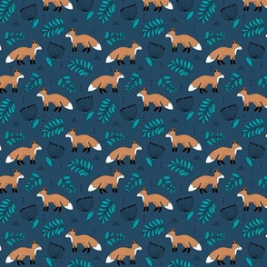 Cute brave little fox forest wild animals a flowers and leaves fall winter forest navy SMALL