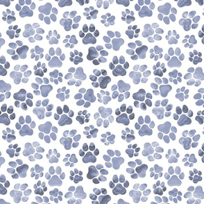 Blue Monochrome Pawprints