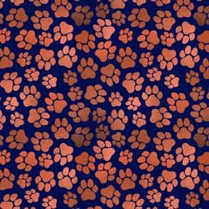 Copper Pawprints on Blue