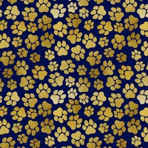 Gold Paw Prints on Dark Blue
