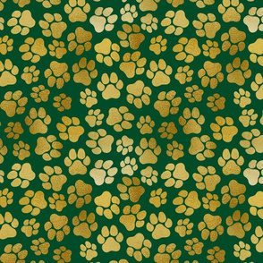 Gold Paw Prints on Green