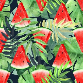 Watermelon slices with tropical leaves