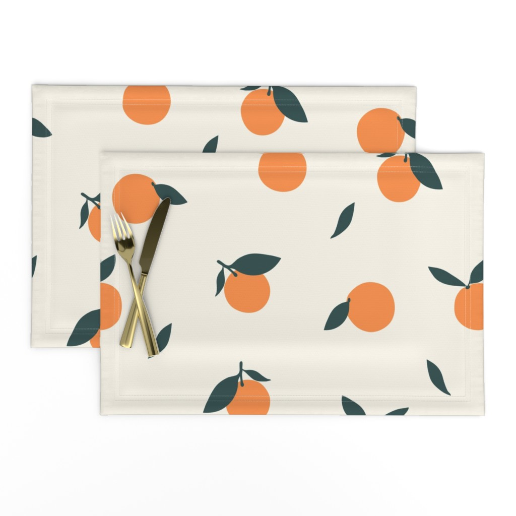 Lamona Cloth Placemats featuring Clementine_Ivory by kimsa