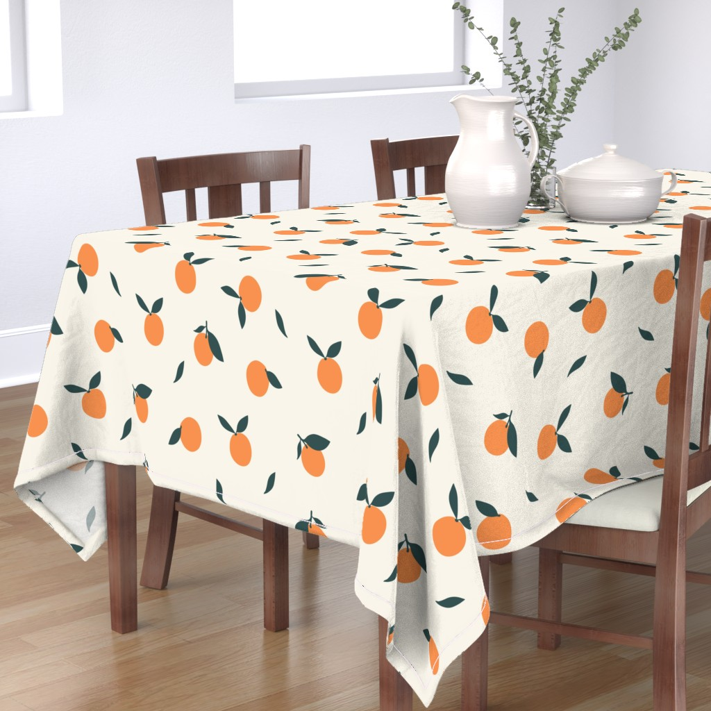 Bantam Rectangular Tablecloth featuring Clementine_Ivory by kimsa