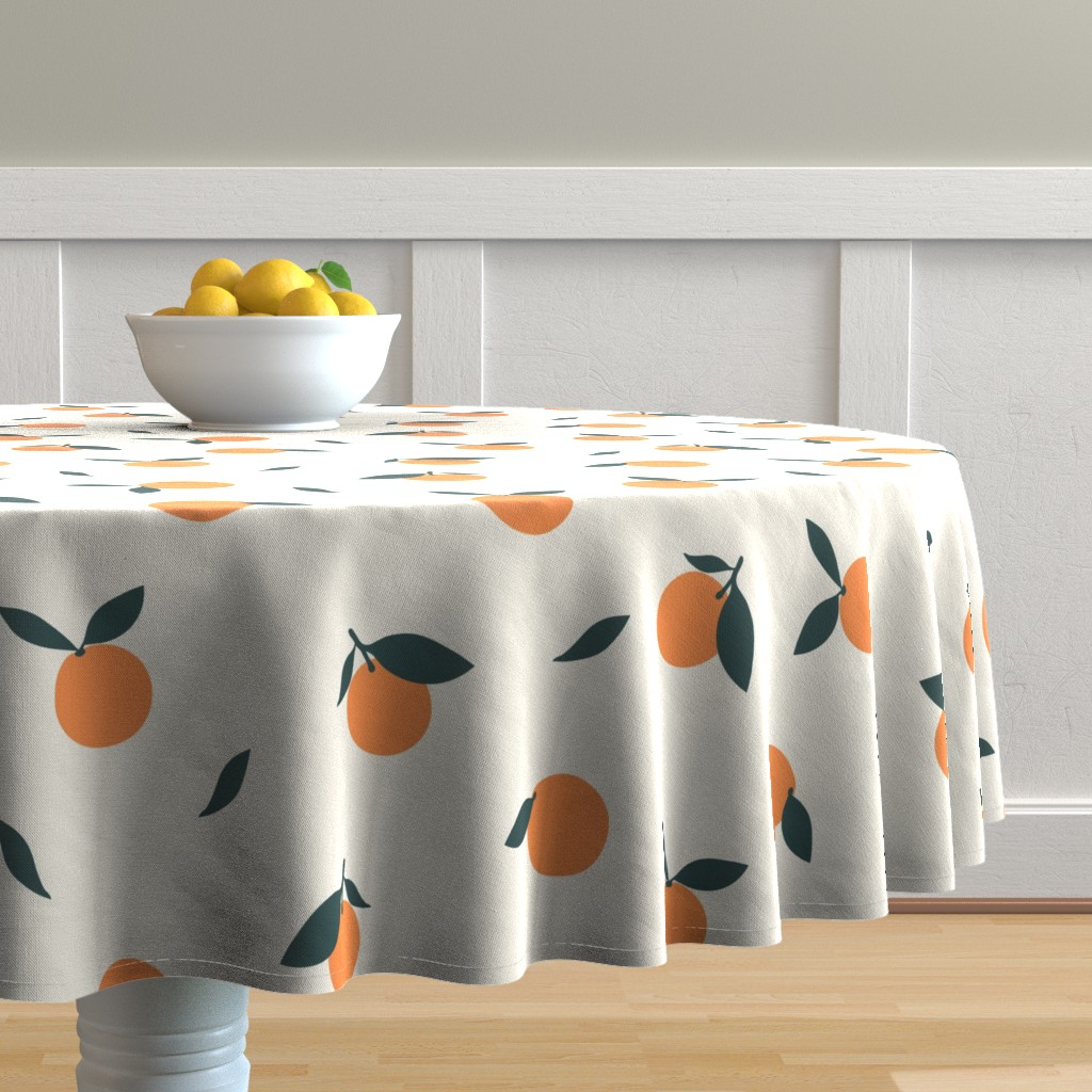Malay Round Tablecloth featuring Clementine_Ivory by kimsa