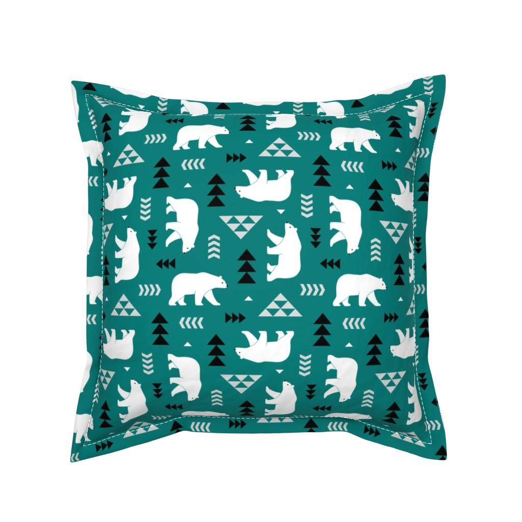 Serama Throw Pillow featuring polar bear - dark green, small by mirabelleprint
