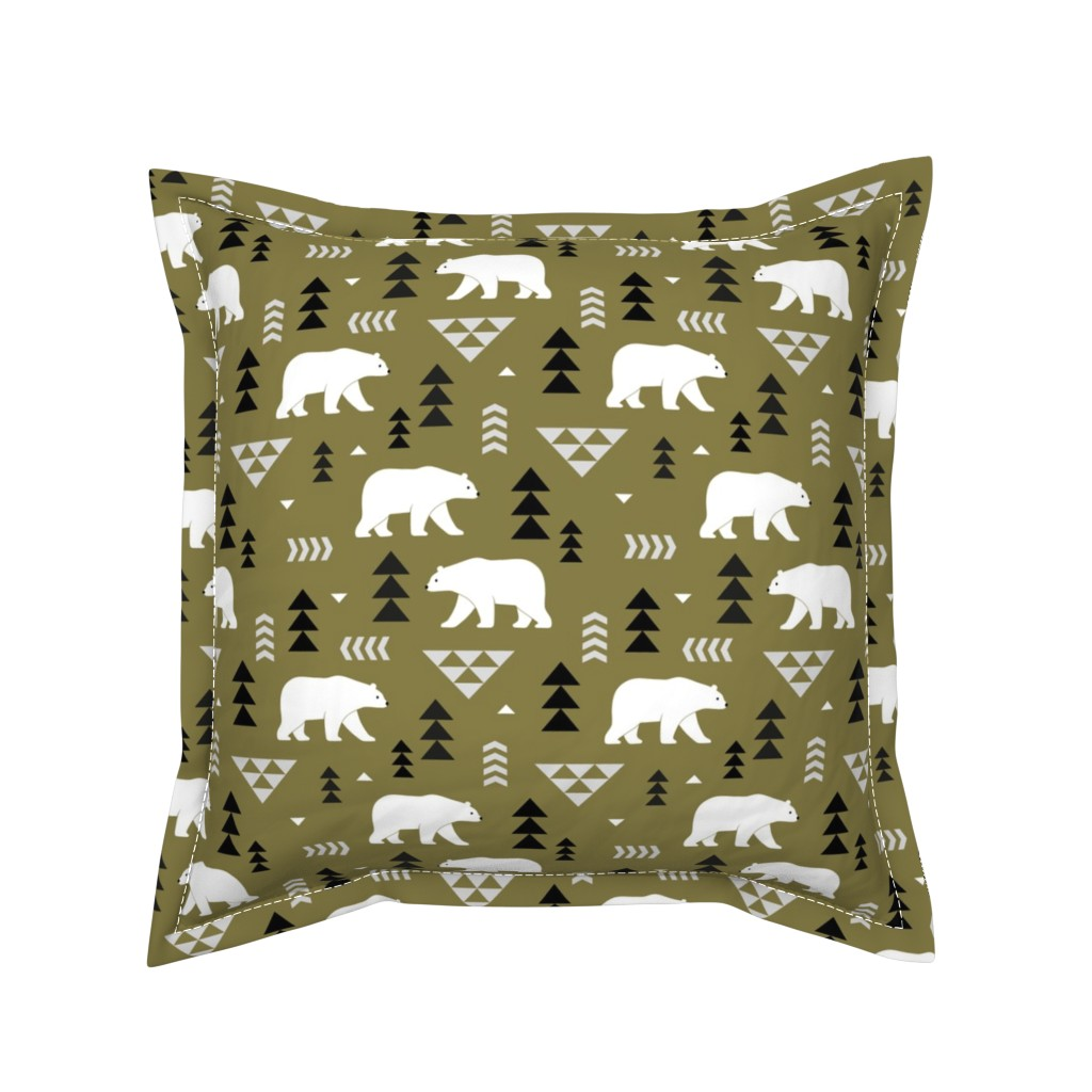 Serama Throw Pillow featuring polar bears - olive, small by mirabelleprint