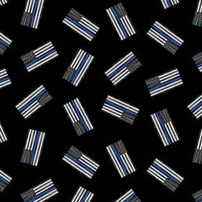 (extra small) Thin Blue Line - Back the Blue - American Flag - toss black - LAD19