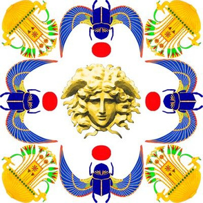 ancient egypt egyptian wings scarab beetles sun medusa flowers floral greek Greece mashup crossover lotus lily papyrus vases pots fusion yellow blue plants versace inspired