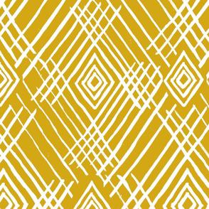 tribal white stripes mustard