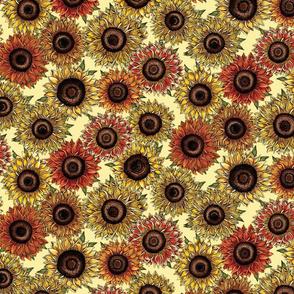 Sunflowers on yellow