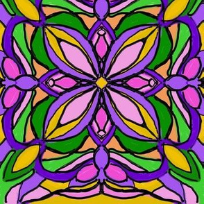 Lush Stained Glass Blooms - Large Scale