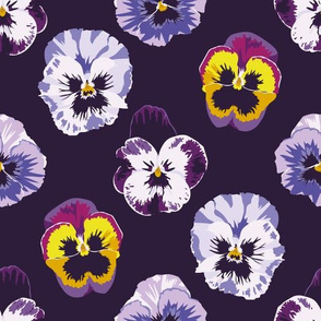 Pansies on midnight violet