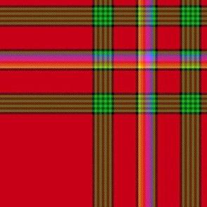 "Custom Christmas rainbow-on-red tartan,  12"""