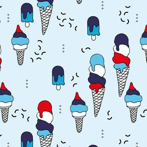 Summer ice creams and popsicle confetti American traditional holiday flag 4th of July celebrations