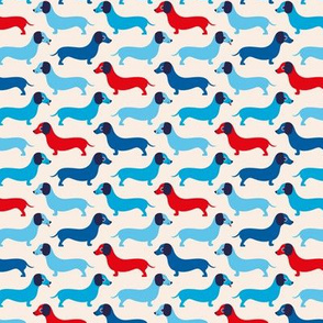 Vintage doxie sausage dogs dachshund illustration pattern girls 4th of July American holiday summer