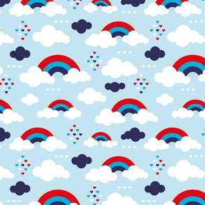 Cloudy blue sky rainbow dreams summer love American 4th of July holiday celebration theme
