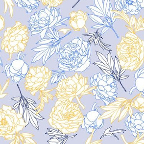 flowers toss blue - yellow - navy