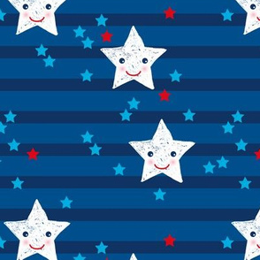 Stars and stripes Kawaii star American traditional flag colors 4th of July celebrations LARGE