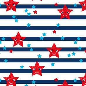 Stars and stripes Kawaii cute American traditional flag colors 4th of July celebrations LARGE