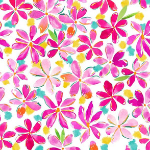 Painterly Flowers - Purple and Pink