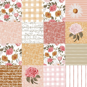 """Symphony Rose cheater quilt - muted vintage floral quilt, girls floral, baby girl cheater quilt, girls cheater, baby girl - 6"""" squares"""
