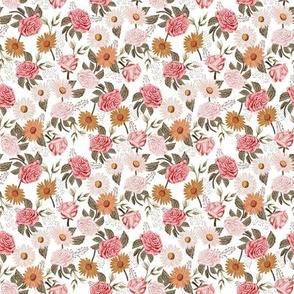 SMALL - Symphony Rose - vintage floral fabric, muted floral fabric, nursery floral, earth tone palette, trendy floral design, rose fabric, daisy fabric, baby girl fabric