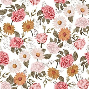 MEDIUM - Symphony Rose - vintage floral fabric, muted floral fabric, nursery floral, earth tone palette, trendy floral design, rose fabric, daisy fabric, baby girl fabric